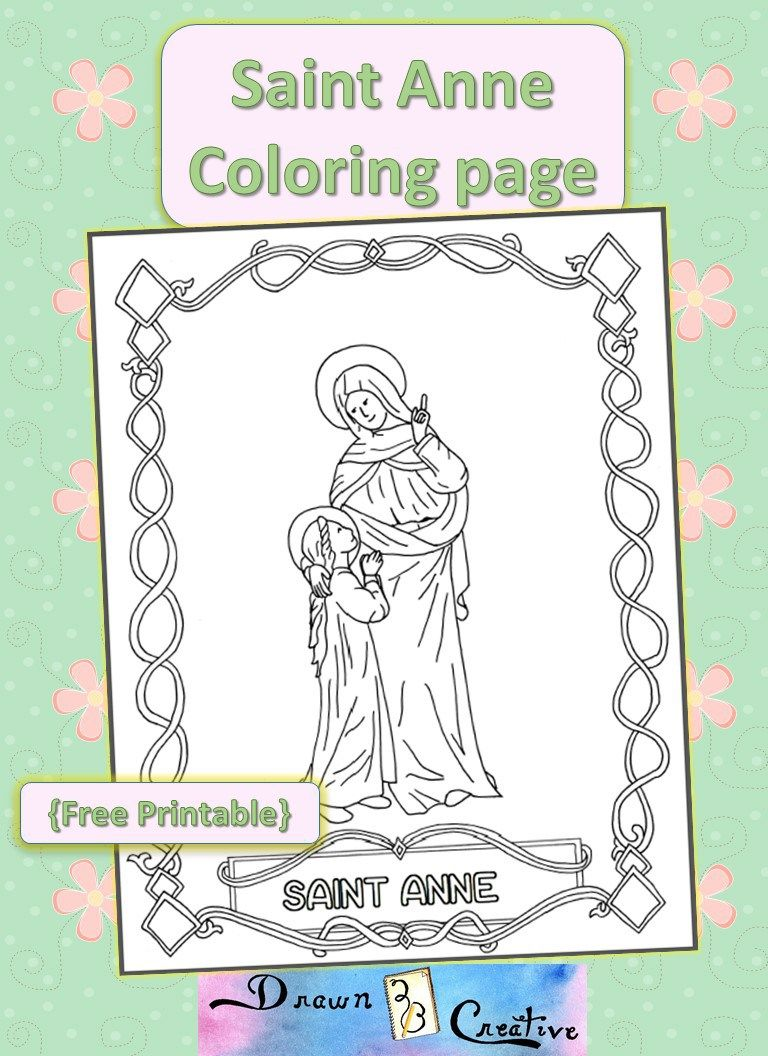 Saint Anne Coloring Page Catholic Saints For Kids Coloring