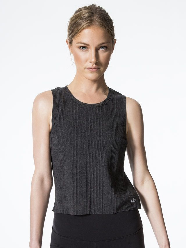 Air Tank Tops in Charcoal Heather by Alo Yoga from Carbon38
