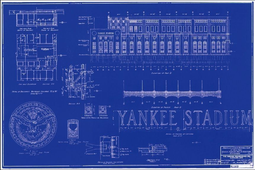 Original 1927 baseball yankee stadium blueprint reproduction original 1927 baseball yankee stadium blueprint reproduction from 250 malvernweather Images