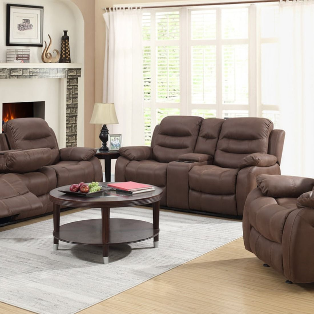 HH9265 Sofa with Drop Down Cupholders Loveseat with
