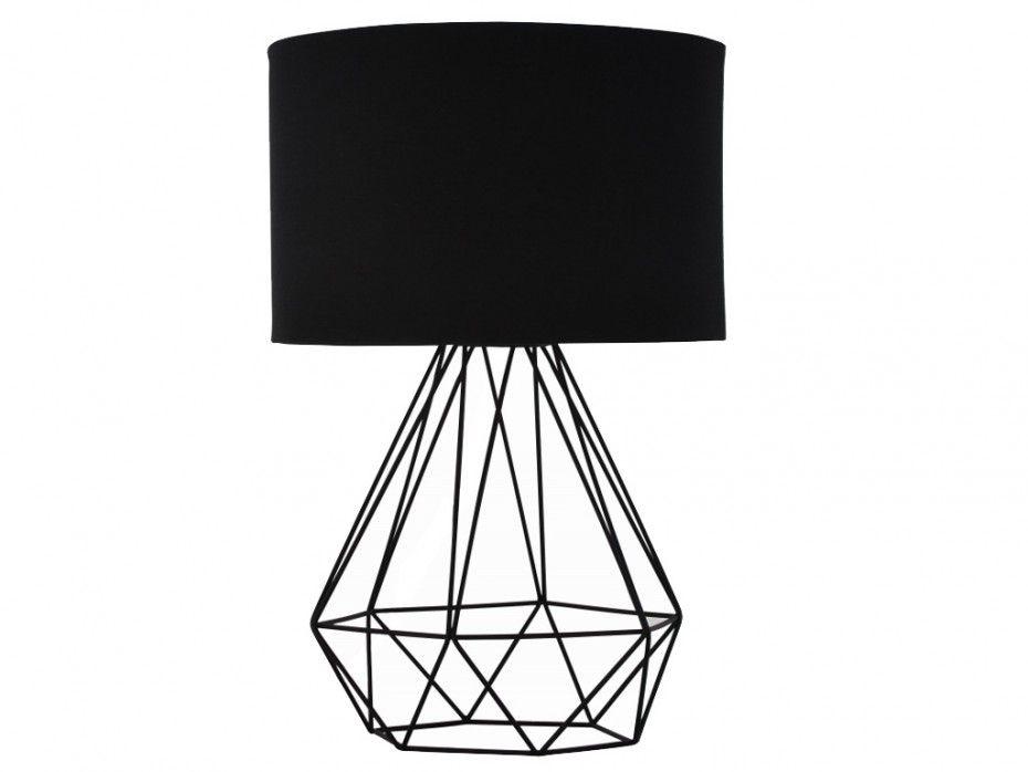 lampe poser ninon en m tal et tissu noir l25xp25xh38 cm design minimaliste pinterest. Black Bedroom Furniture Sets. Home Design Ideas