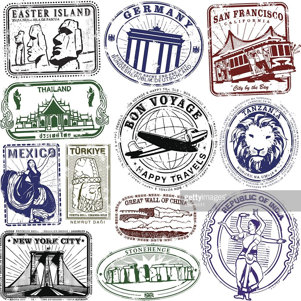 Series of stylized retrovintage passport style stamps of