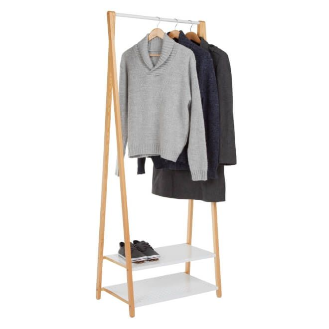 wooden clothes rail with 2 metal shelves maison. Black Bedroom Furniture Sets. Home Design Ideas