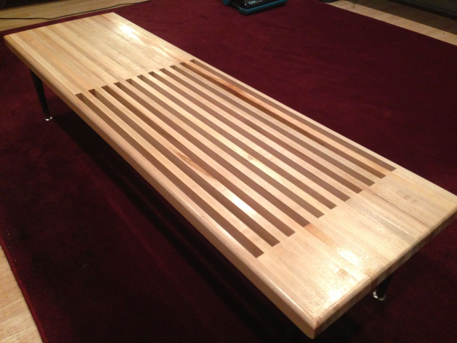 3660 solid maple topped 23rds slat table solid maple