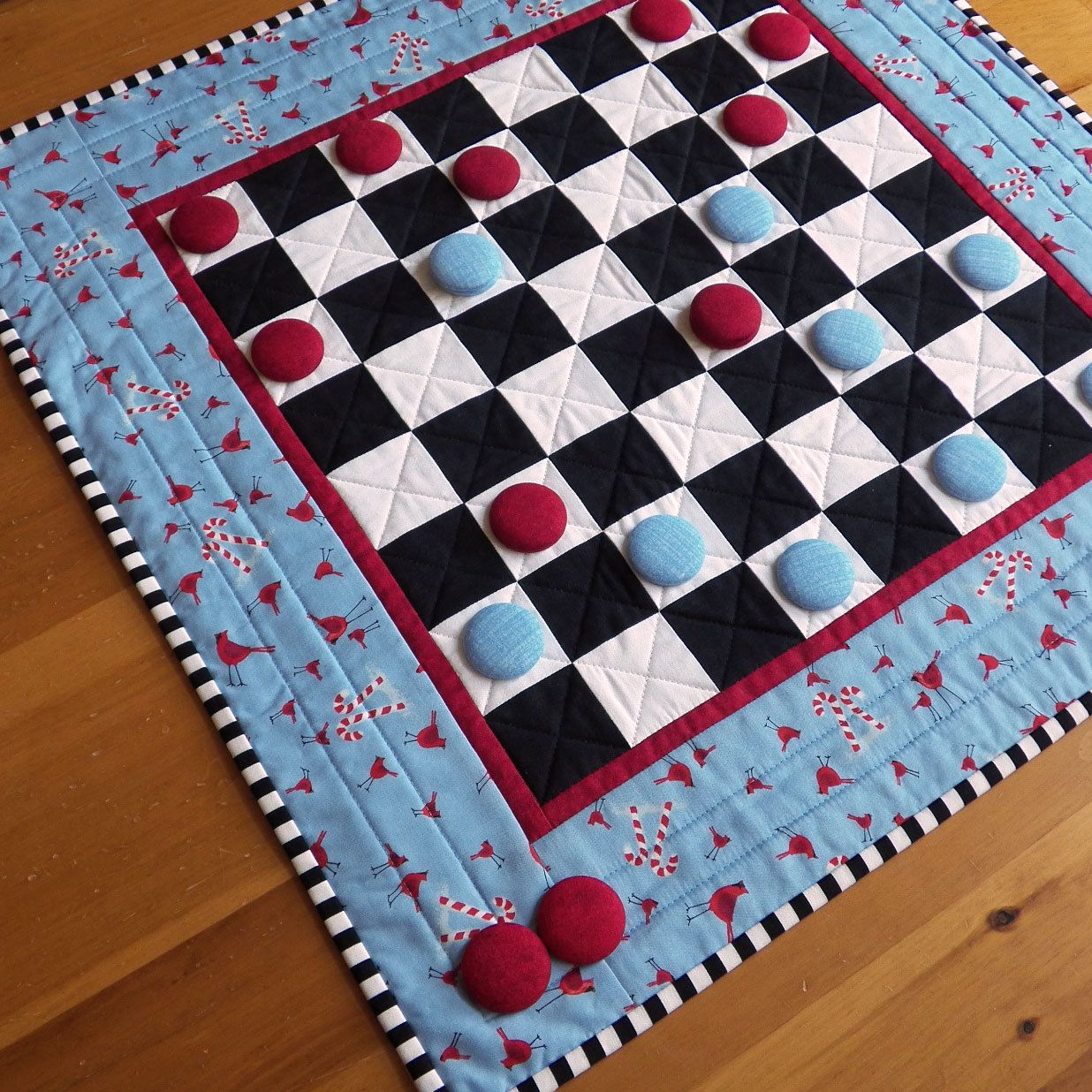 Custom Checkers Game Board | Quilted Checkerboard Game -- Any Fabric ...