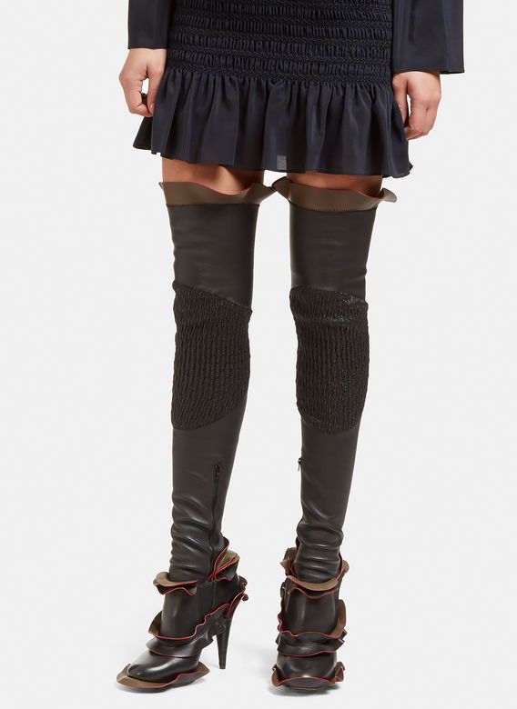 Women's Boots - Shoes   Discover Now LN-CC - Thigh High Ruffled Leather Socks
