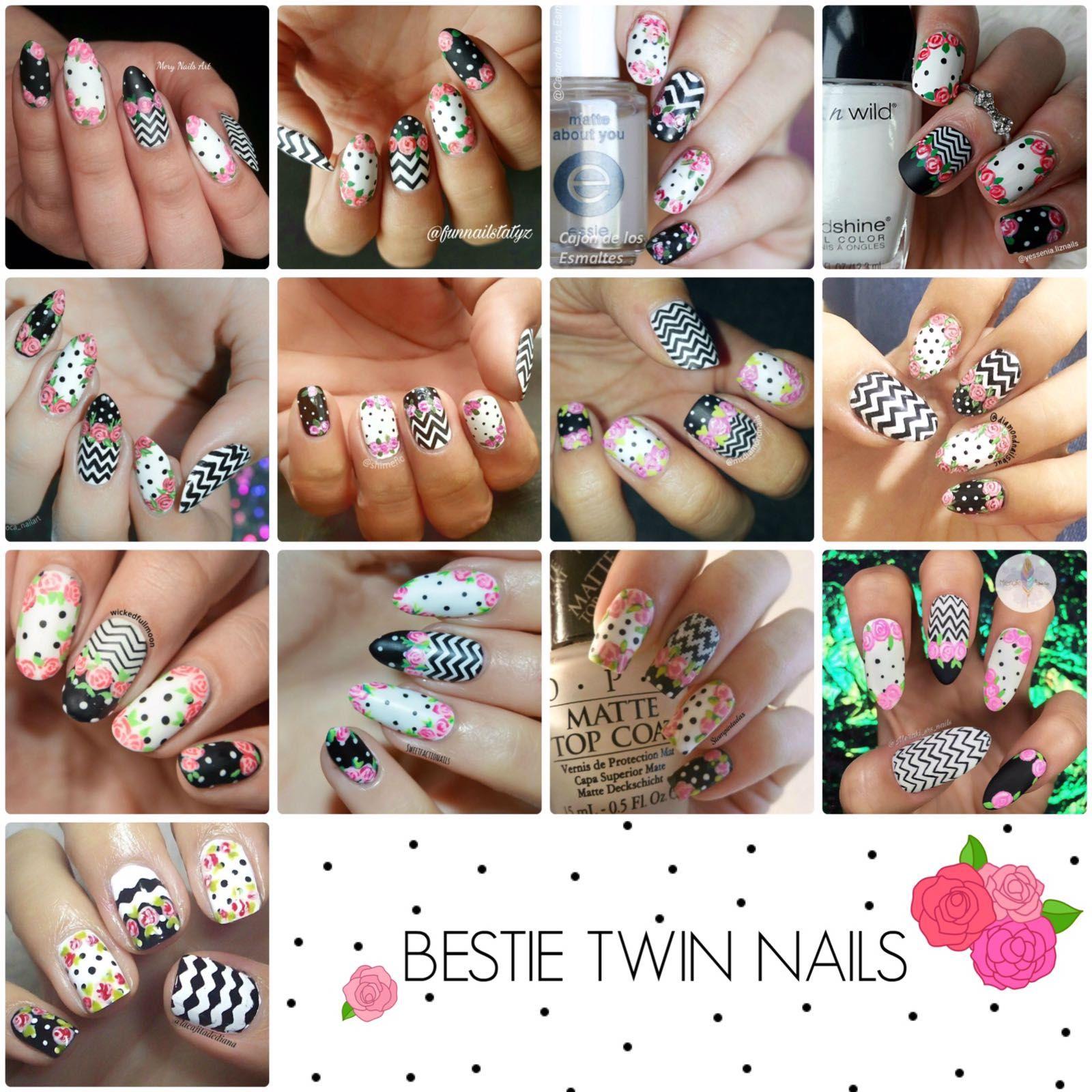 Decoración de uñas con rosas al pincel - Twin nails | Decoración de ...