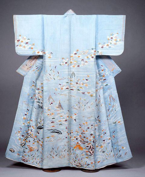 5浅葱絽地梅松桜笹芦短冊兜模様染繍単衣