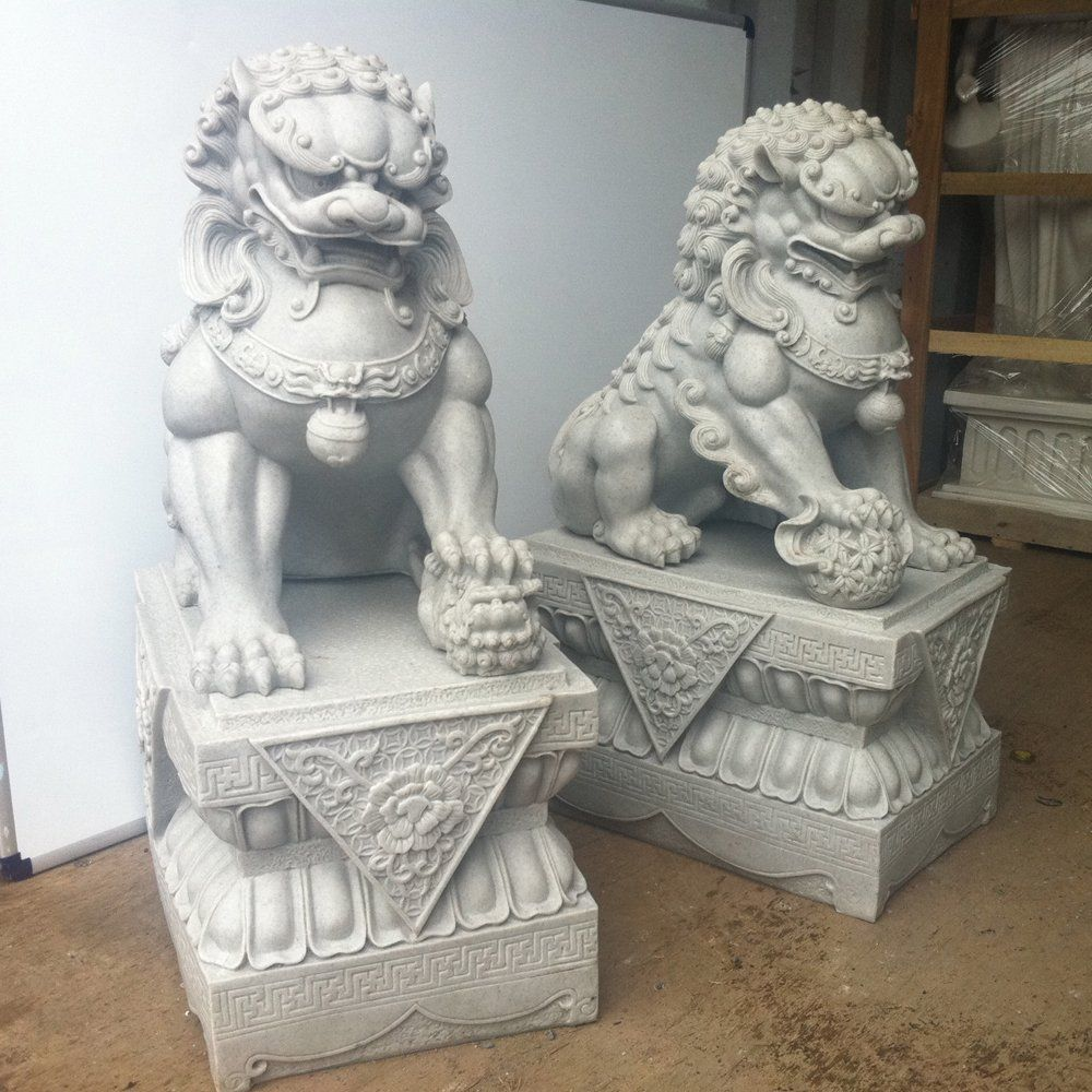 Large Foo Dogs Statues Granite Chinese Fu Temple Lions