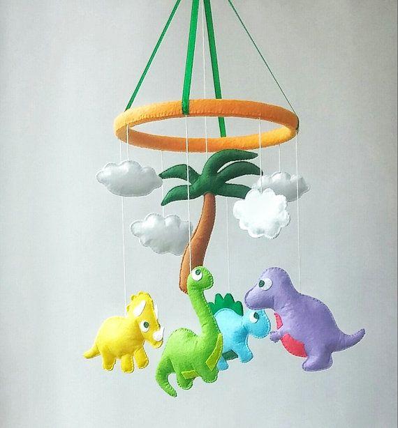 Dinosaur baby crib mobile Nursery decor Felt mobile Hanging mobile ...