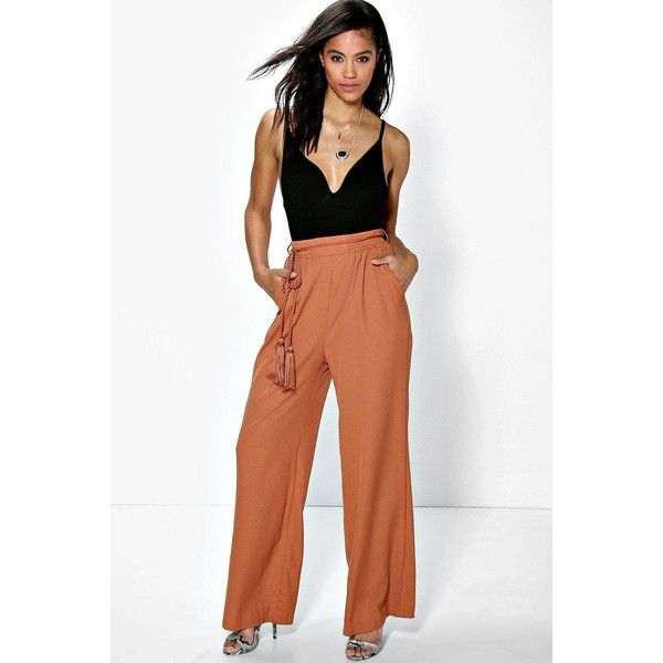 d09cb85808e14 Boohoo Suri Belted Wide Leg Tailored Trousers ($35) ❤ liked on Polyvore  featuring pants, tan, white wide leg pants, relaxed fit pants, tan pants,  ...