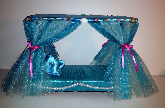 Items similar to Doll furniture Canopy bed Monster High Lagoona Barbie Bratz ocean theme on Etsy & Doll furniture Canopy bed Monster High Lagoona by LilliansLMB ...