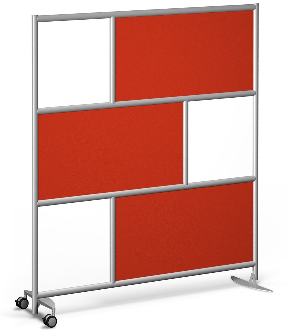 Urban Wall Room Divider - 2 Wheels 1 Foot - Fez Fabric and Frosted Acrylic