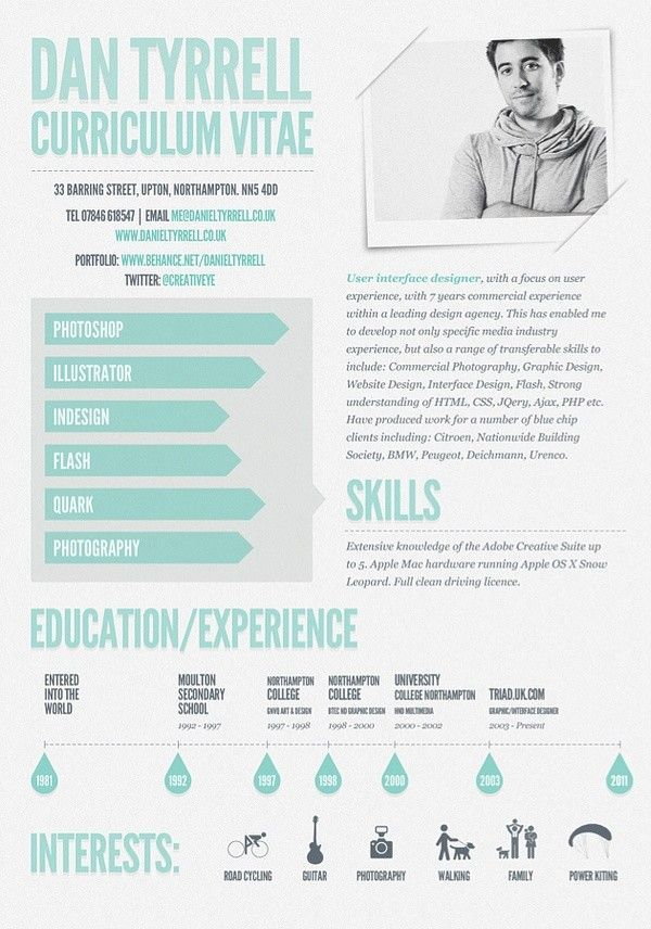 I design infographic resumes like this one - check out my portfolio