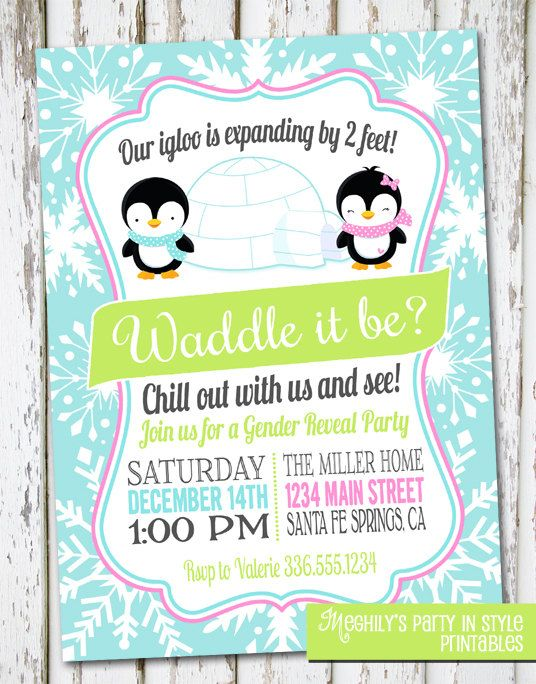Winter Gender Reveal Invite By Meghilys On Etsy 10 00 Gender Reveal Invitations Gender Reveal Party Theme Baby Gender Reveal Party
