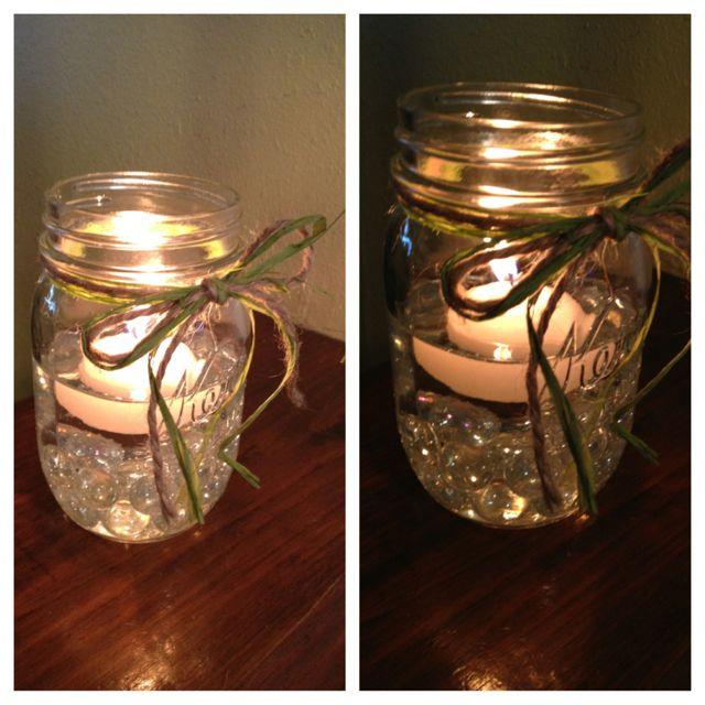 Mason Jars, Marbles, Twine, Raffia, And Floating Candles
