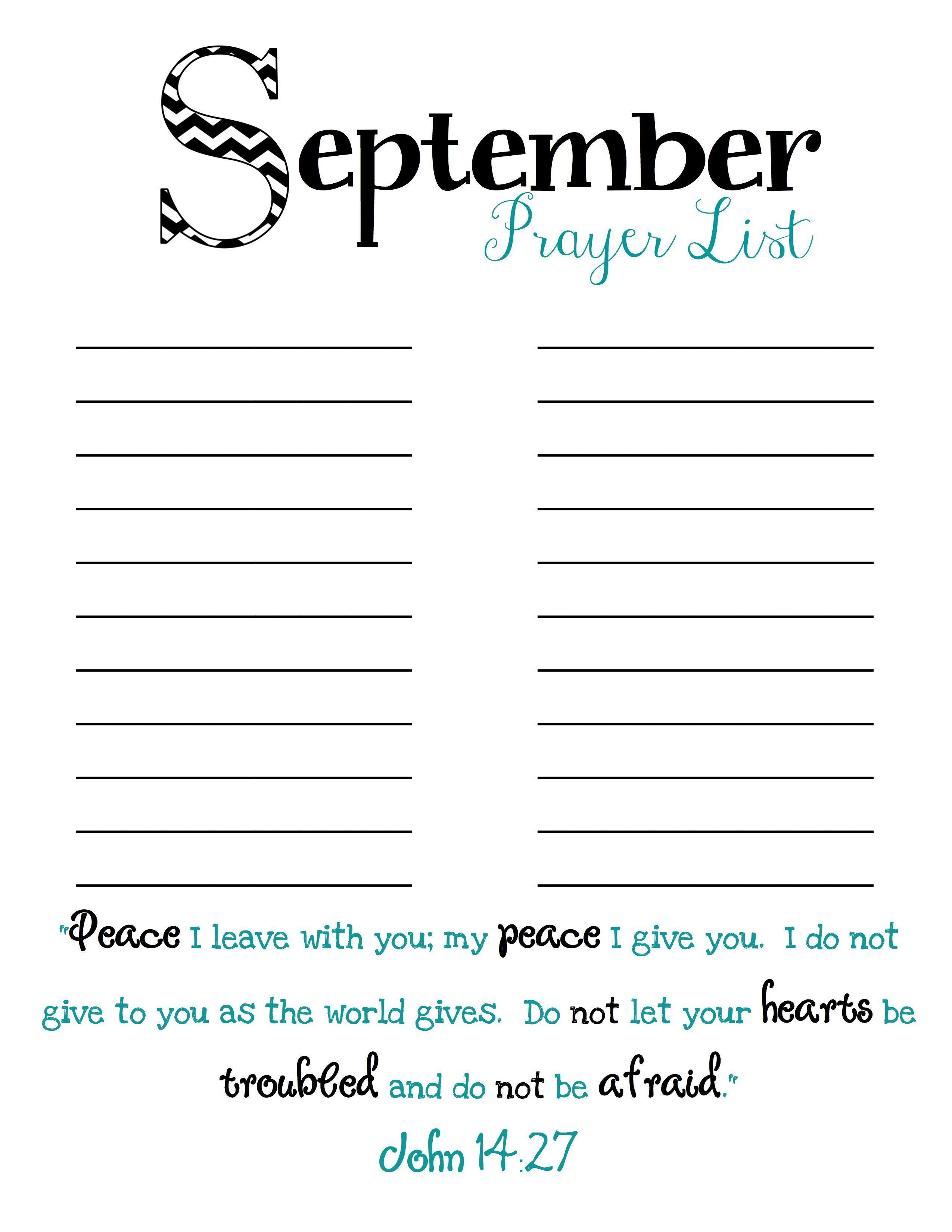 Monthly Prayer Lists