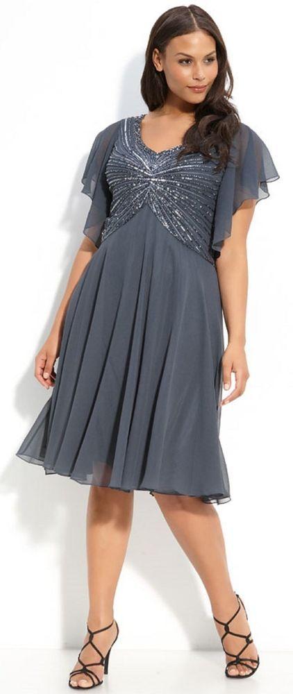 New J KARA Beaded V Neck Flutter Sleeve Chiffon Dress Steel Gray ...