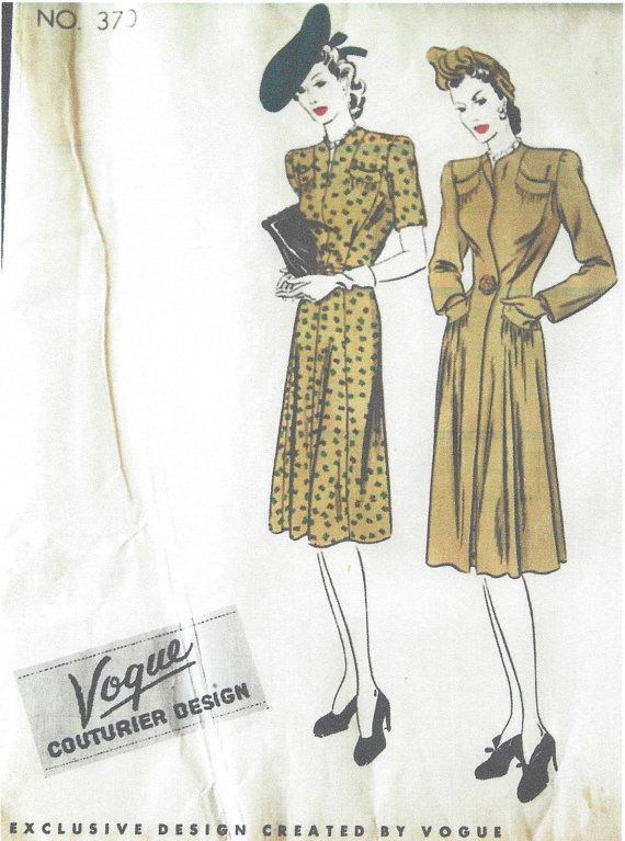 1940s Vintage VOGUE Sewing Pattern B34 DRESS & COAT (1111) Vogue 370 ...