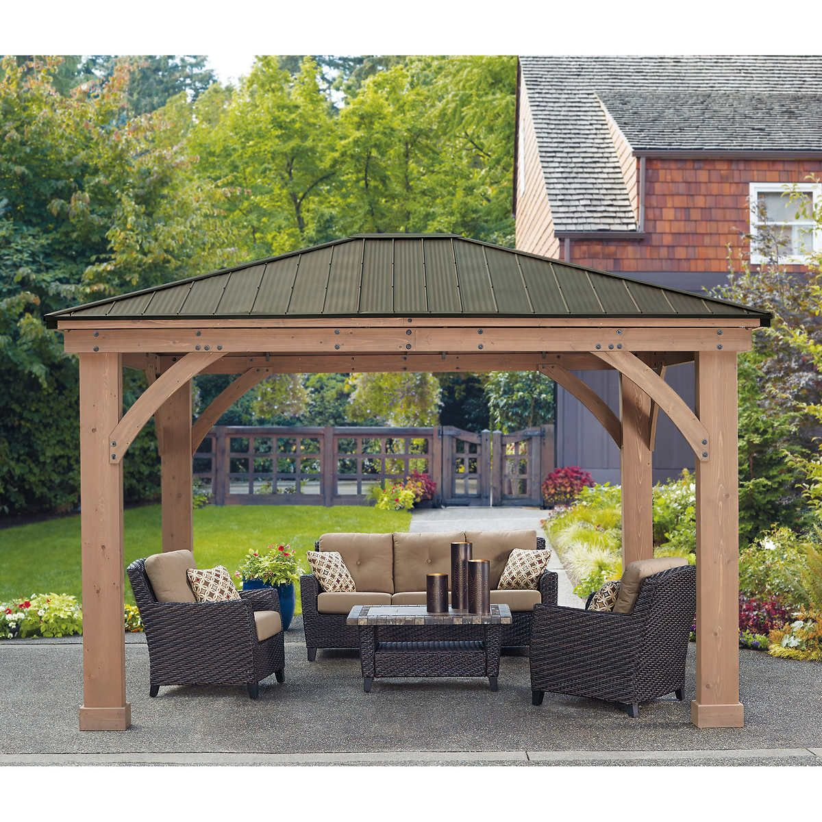 12 X 14 Big Cedar Gazebo With Aluminum Roof Outdoor Pergola Patio Gazebo Pergola Patio