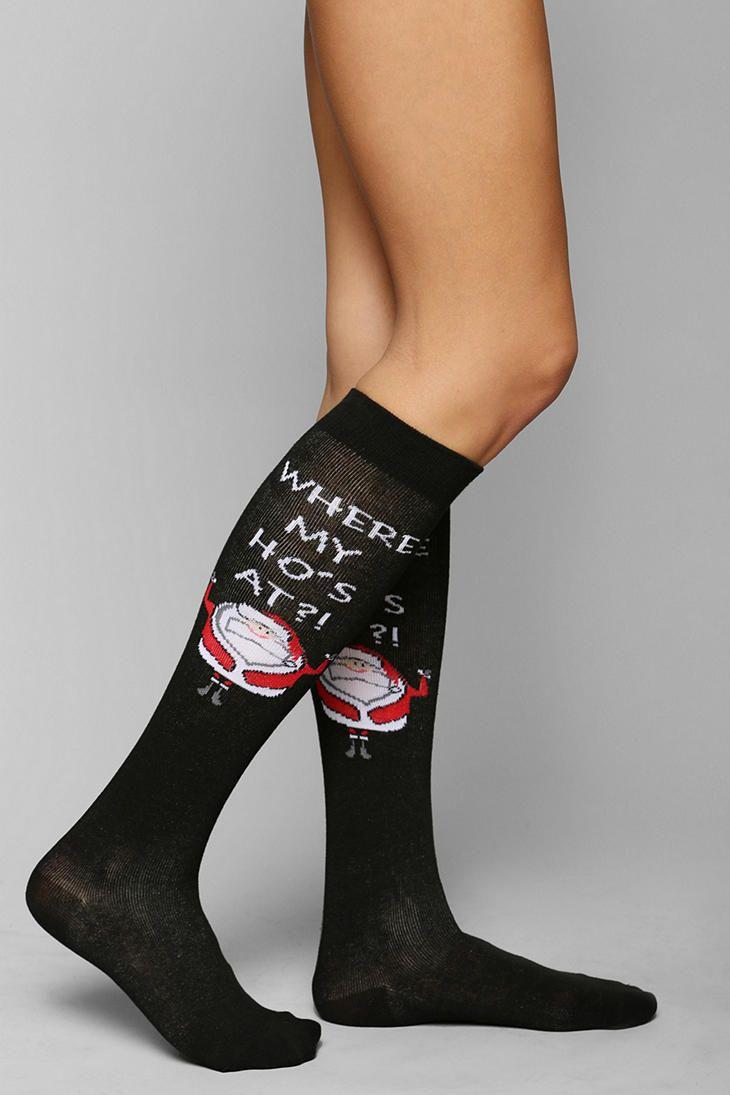 Funny Santa Knee-High Sock   My Style   Pinterest   Knee ... Funny Socks
