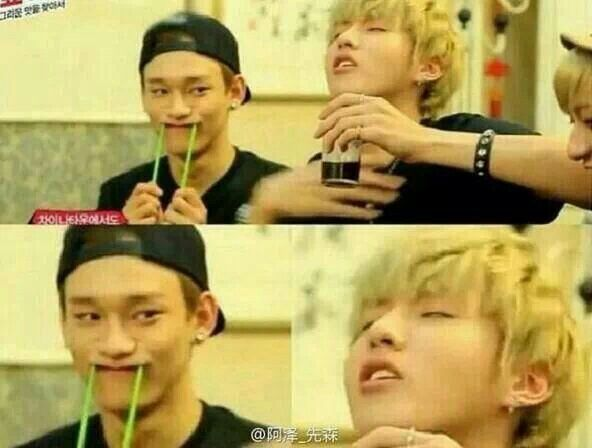 Choking on coke Kris and Trolling ChenChen, this is why I love them...