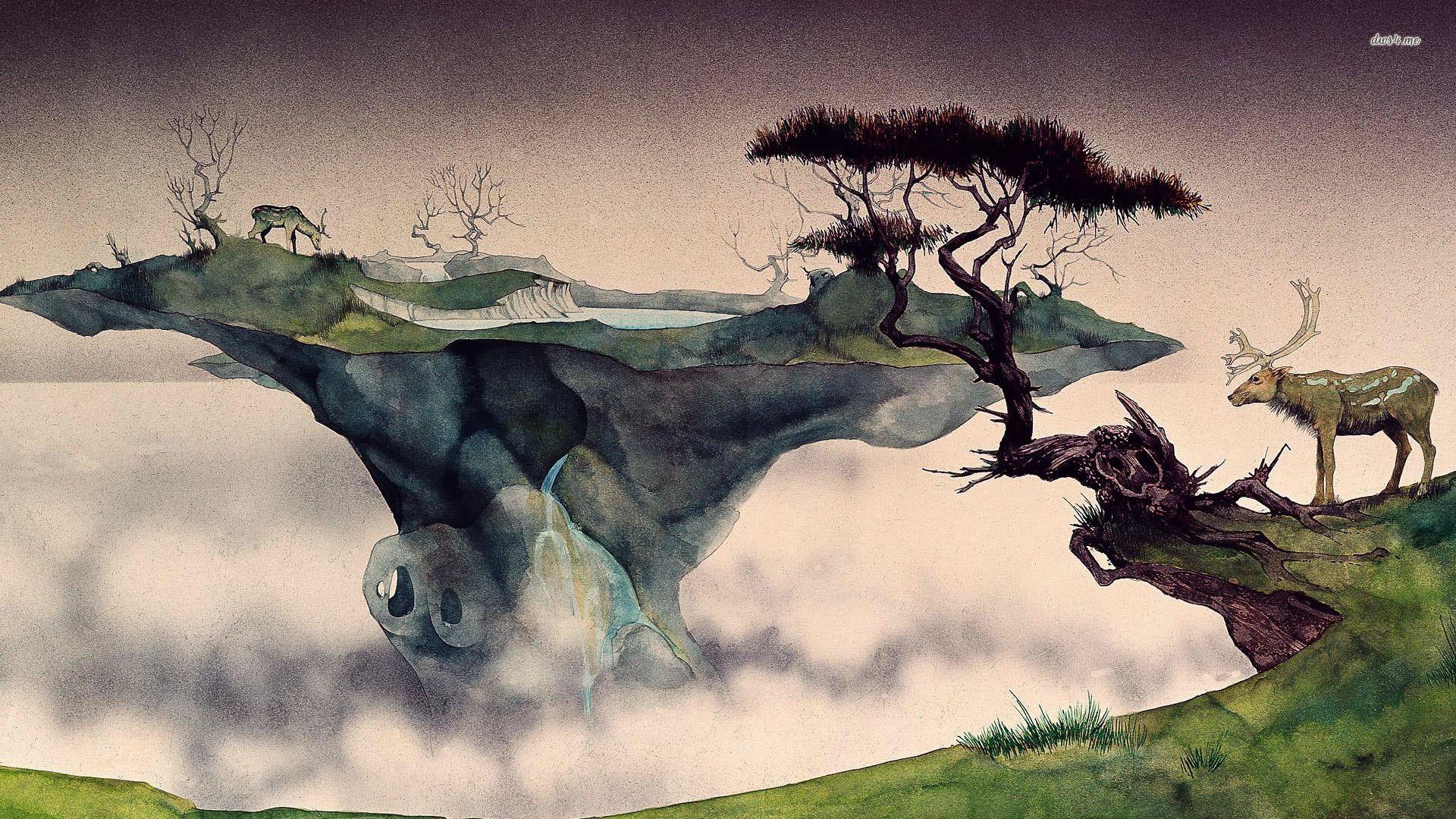 Floating island hd wallpaper roger dean dean album art