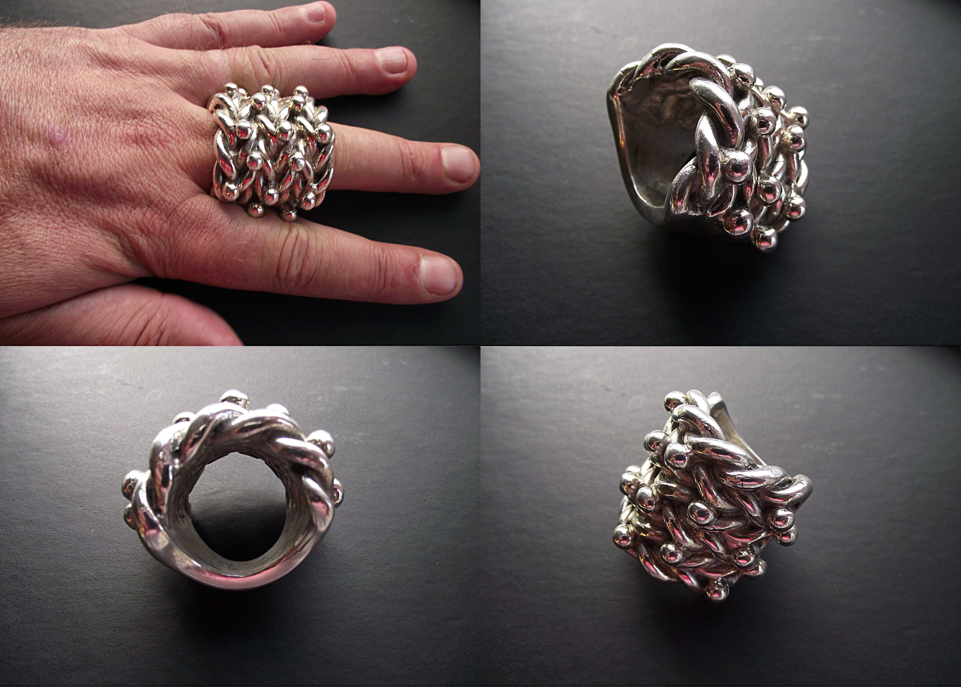 Heavy 925 Silver 4 Row Keeper Ring!