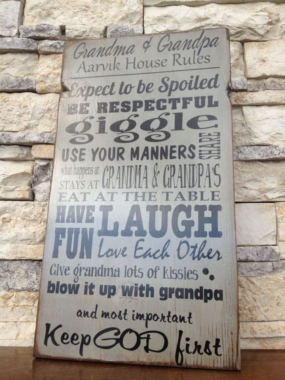 House Rules Grandma Grandpas Painted Wood Sign Sayings