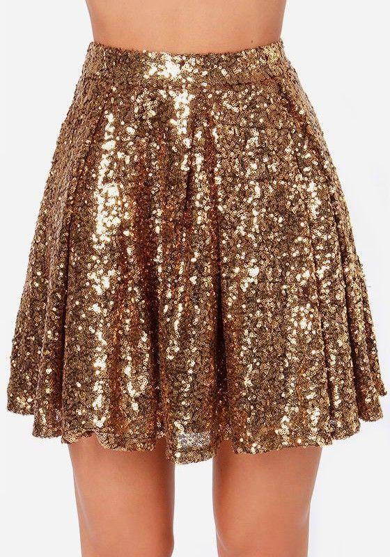 29ed6c790e96 Golden Plain Sparkly Sequin Draped A-line Pleated High Waisted Fashion Mini  Skirt
