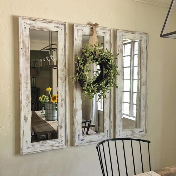 Retrofitted Wall Mirrors With Natural Wreath Accent Could Make From Recycled Windows Too Farmhouse Kitchen Decor Decor Home Decor