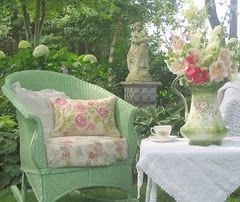 great on so many levels...perfect patio, #mint green and #white, gorgeous flowers, and a cup of #tea...does life get any better?
