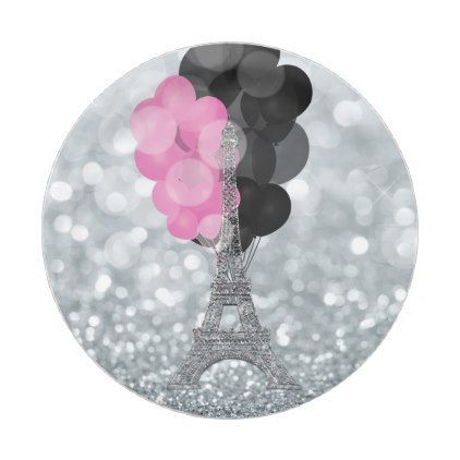 Silver Glitter u0026 Balloons Paris Eiffel Tower Party Paper Plate - birthday gifts party celebration custom  sc 1 st  Pinterest & Silver Glitter u0026 Balloons Paris Eiffel Tower Party Paper Plate ...