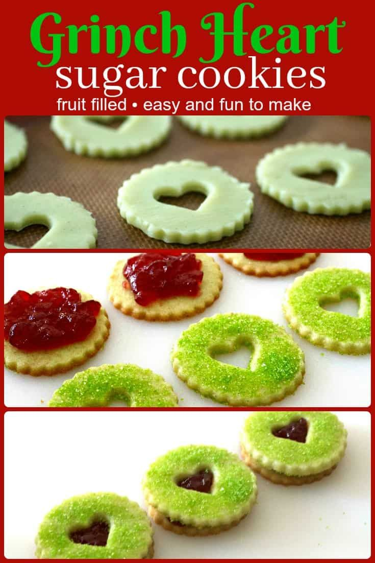 Grinch Heart Raspberry Filled Sugar Cookies Recipe- Tasty Ever After #grinchcookies