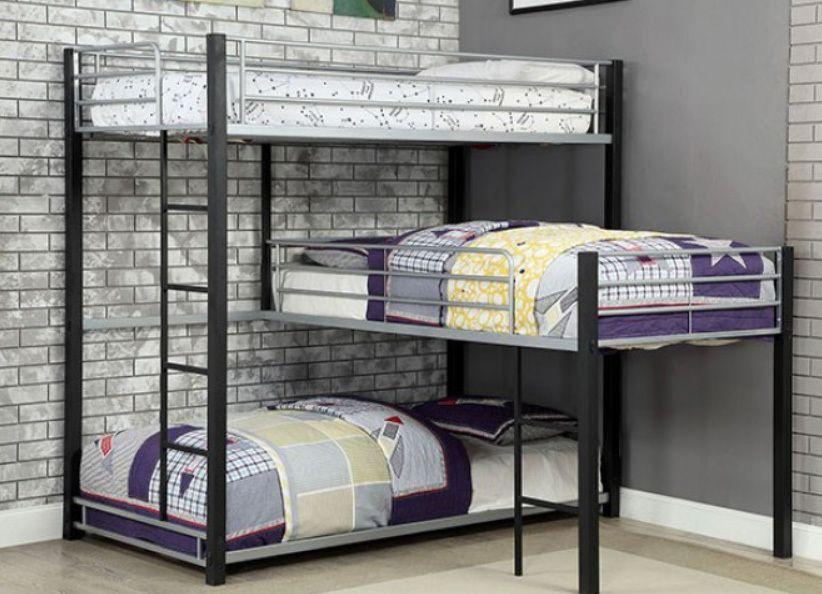Gabriel Industrial Style Triple Decker Bunk Bunk Beds Small Room