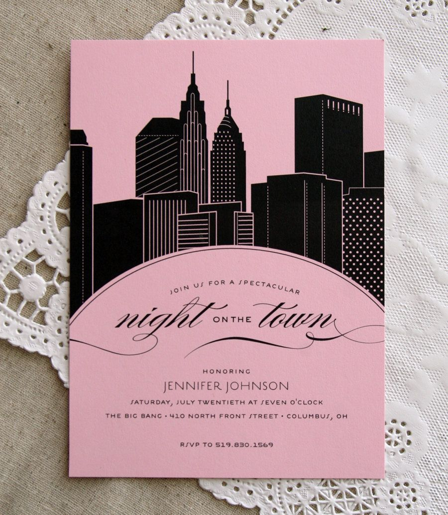 free e cards bridal shower invitations%0A Skyline Bachelorette Party Invitation NYC silhouette  Cheer Up Cherup on  Etsy