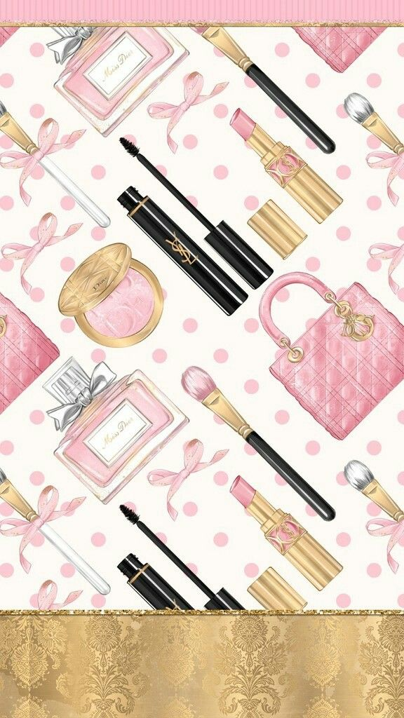Pink Girly Accessories Wallpaper Makeup wallpapers, Cute