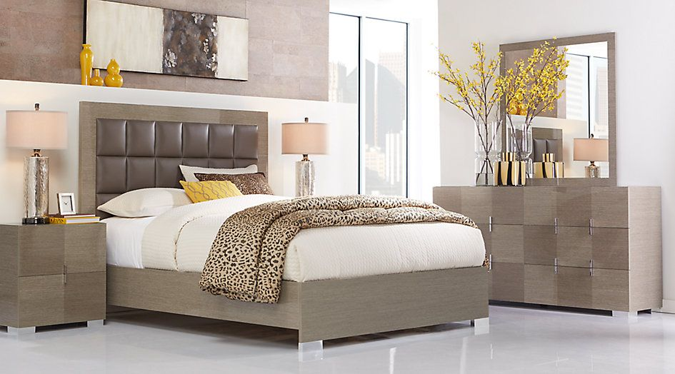 dominique gray 5 pc queen panel bedroom from furniture