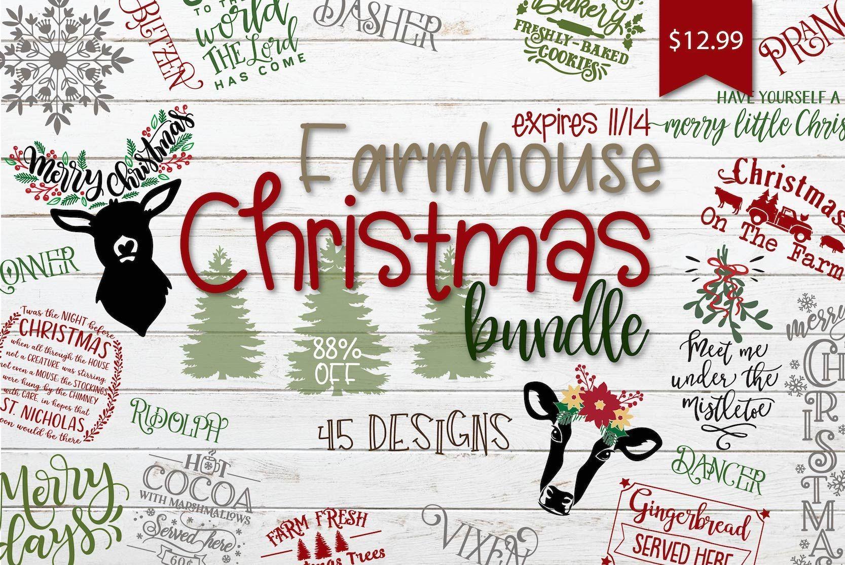 1 Day Only Farmhouse Christmas Bundle Free Silhouette Designs Christmas Svg Design Christmas Svg