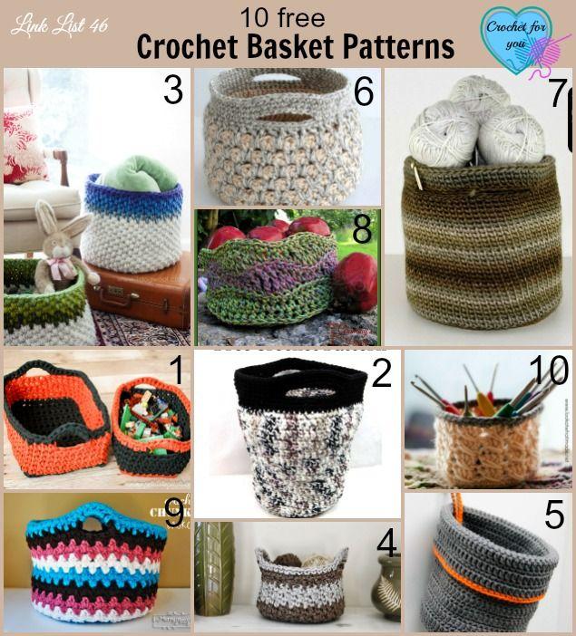 10 free crochet basket patterns | Tejido, Trapillo y Costura