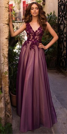 Tulle V-neck Neckline A-line Evening/Prom Dresses With Beaded Lace Appliques & Belt