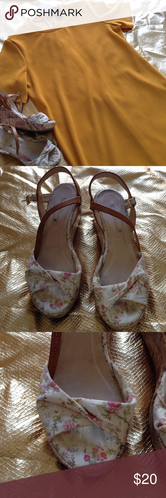 Chinese Laundry 7 Floral Wedges Worn several times but outgrew them. Chinese Laundry Shoes Wedges