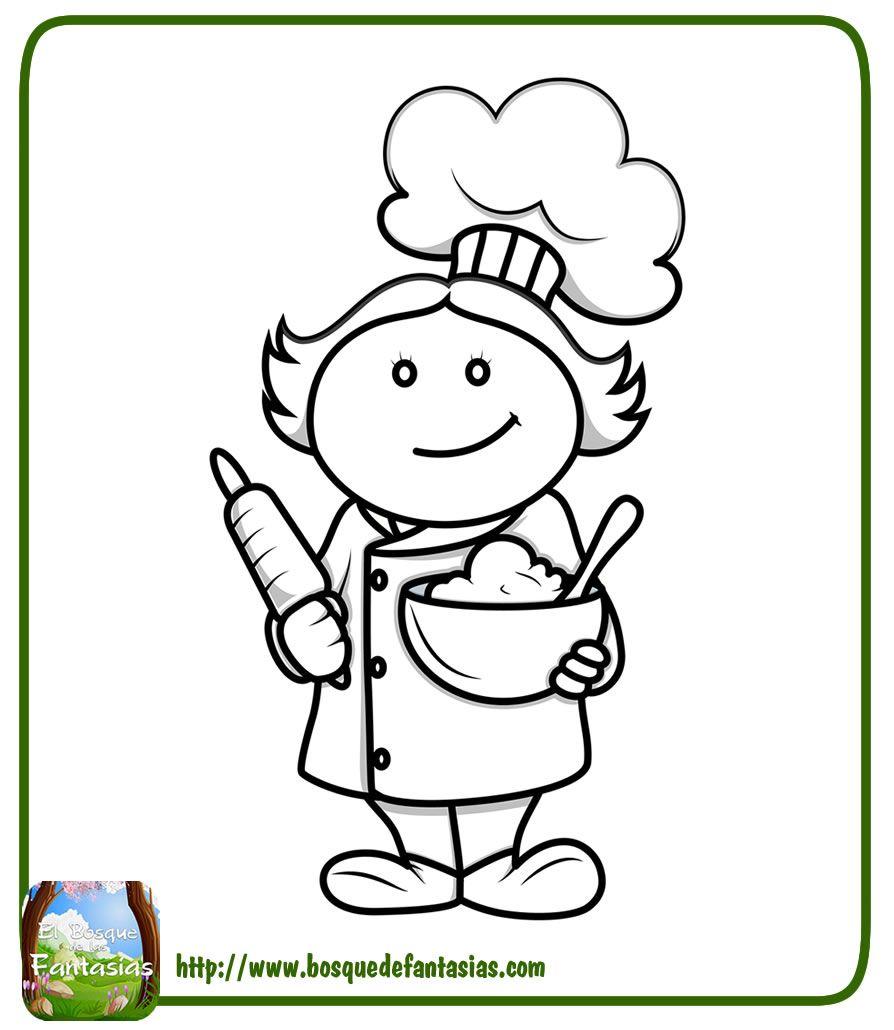 Dibujo De Un Chef Para Colorear Cocinar Dibujo Dibujos Manualidades Para Ninos