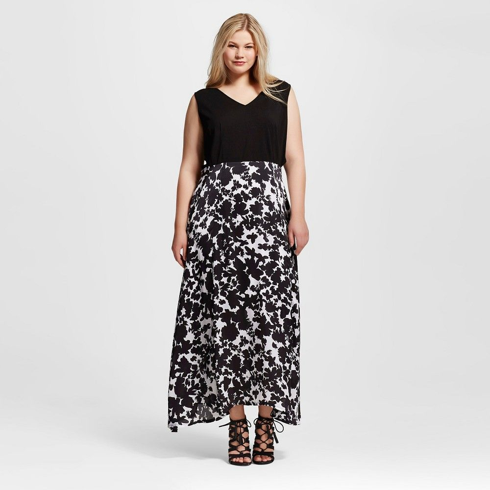 Womenus plus size maxi dress with knit top u printed woven skirt
