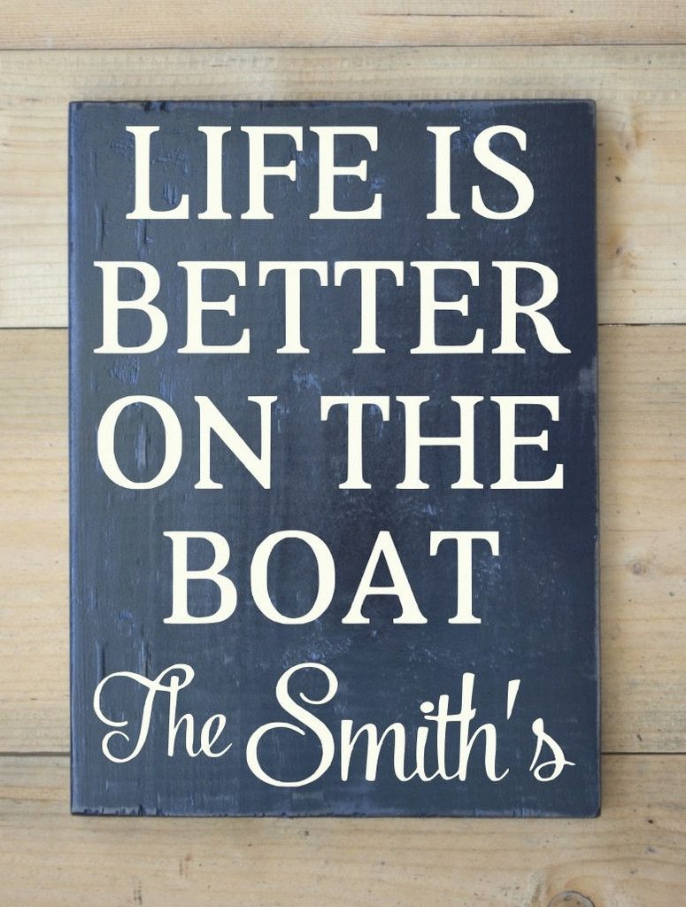 Beach Decor Personalized Boat Sign Nautical Navy Life Décor Family Name Custom Wood Sign Life Is Better On Boat Captain Boating Gift Sailing