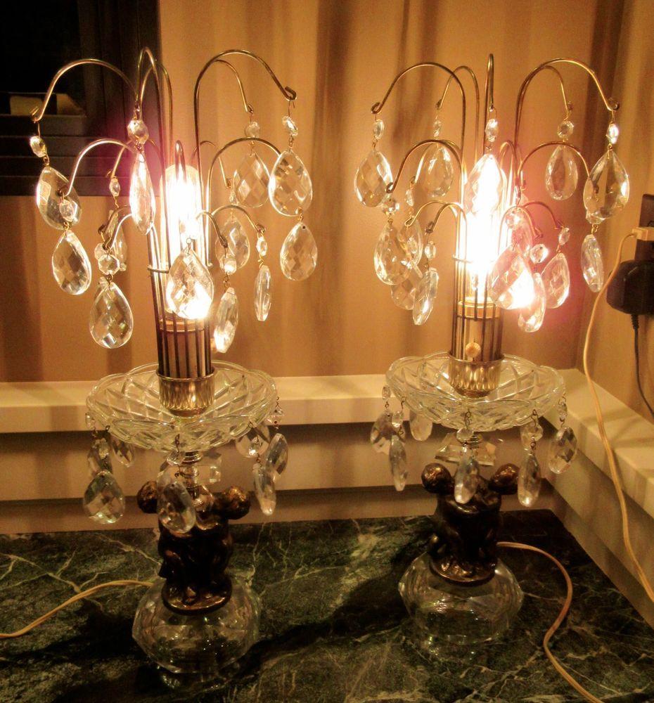 2 Vintage Mid Century Antique HOLLYWOOD REGENCY Cherub CRYSTAL Brass TABLE  LAMPS