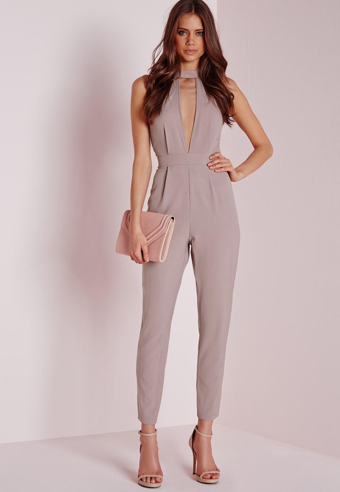 7ca2500792f Missguided - Split Front Jumpsuit Taupe