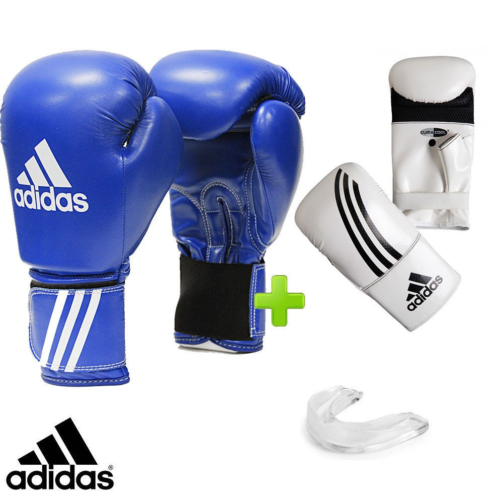New adidas Leather Boxing Gloves Set Sparring Bag Gloves /& Mouthguard