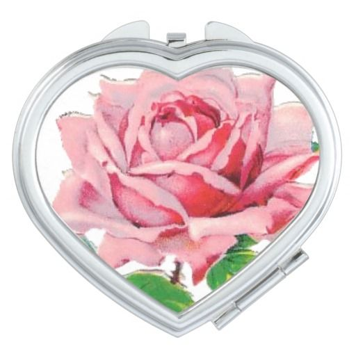 Vintage rose heart compact mirror