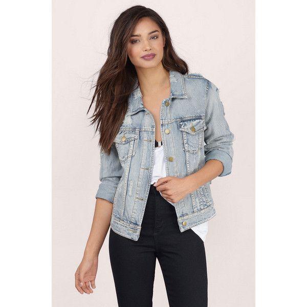 Tobi West End Denim Jacket (120 CAD) ❤ liked on Polyvore featuring outerwear, jackets, light denim, button up jacket, distressed denim jacket, denim jacket and jean jacket